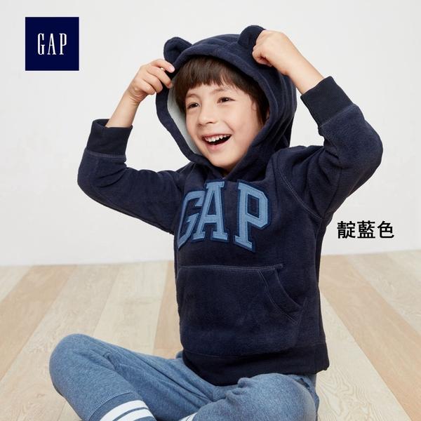 Gap男嬰幼童 LOGO寶寶連帽休閒上衣 兒童刷毛長袖童裝338303-靛藍色