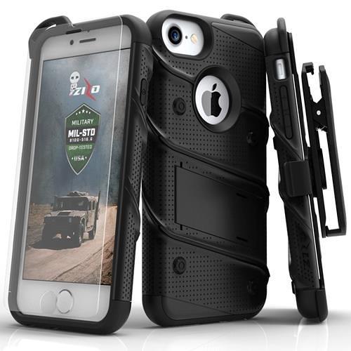 【美國代購】Zizo Bolt系列 iPhone 8保護套軍用級Drop 鋼化玻璃屏幕 iPhone 7保護套-黑色