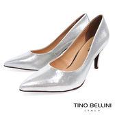 Tino Bellini 巴西進口耀眼金蔥細緻布紋尖楦跟鞋 _ 銀 A83038 歐洲進口款