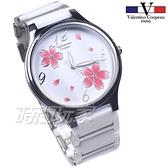 valentino coupeau 范倫鐵諾 古柏 醉心 櫻花紛飛 陶瓷錶 女錶 中性錶 夜光指針 白色 V60208-1