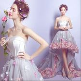 浪漫花瓣前短後長旅拍海景外景拖尾新娘婚紗禮服igo 傾城小鋪