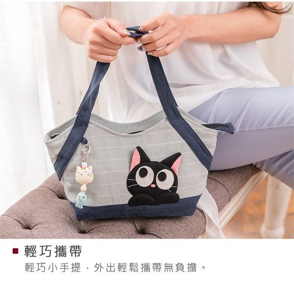 Kiro貓‧小黑貓 拼布包 拉鍊 手提包 野餐便當袋【211343】
