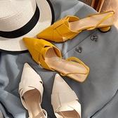 夏季新款包頭涼鞋女2021仙女風中跟韓版百搭尖頭粗跟涼拖鞋女外穿 快速出貨