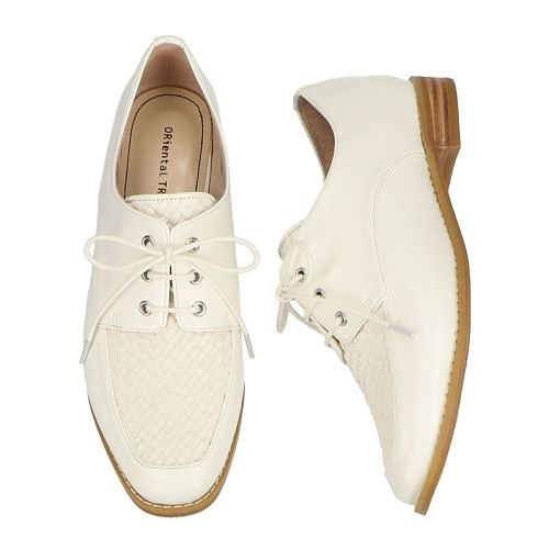 【ORiental TRaffic】洗鍊編織皮革綁帶鞋-率性白