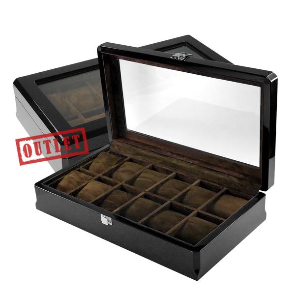 展示福利品7折↘手錶收藏盒 配件收納 12入腕錶收藏盒 鋼琴烤漆 - 深駝色x黑 #842-MQ-1003-2-defect