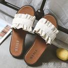 拖鞋拖鞋女夏外穿新款韓版百搭學生荷葉邊涼...