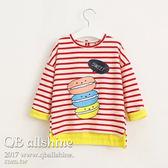 女童長版T 韓版條紋漢堡拼接色開岔長袖T恤上衣 QB allshine