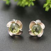 耳環 純銀鍍14K橄欖石-簡約時尚生日情人節禮物女飾品73hl70【時尚巴黎】