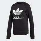 Adidas TREFOIL CREWNECK 女裝 上衣 長袖 大學T 休閒 純棉 黑【運動世界】DV2612