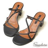 訂製鞋 交叉線條2way中跟涼鞋-艾莉莎ALISA【3293103】黑色下單區