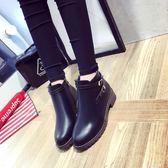 高幫皮鞋女英倫馬丁靴冬季短靴學生韓版靴子女百搭加絨平底新款潮『艾麗花園』
