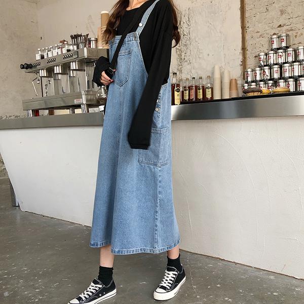(免運)DE shop - 百搭顯瘦牛仔背帶裙長裙 - A-2330