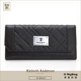 Kinloch Anderson 金安德森 皮夾 英國女爵 黑色 菱格壓紋女夾 單面扣 多功能插卡 KA156108 MyBag得意時袋
