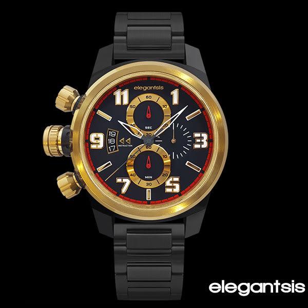 ELEGANTSIS 黑金三眼軍風左冠黑鋼錶x43mm小・ELJF48KS-OB01MA・公司貨|名人鐘錶高雄門市