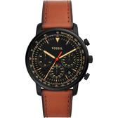 FOSSIL 都會摩登計時手錶-黑x棕色/44mm FS5501
