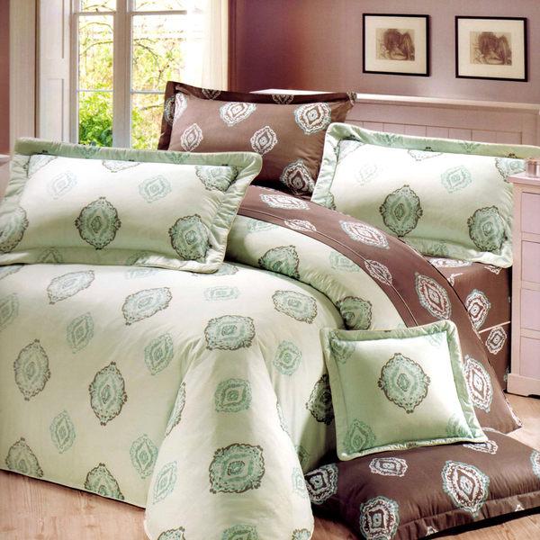 台灣製-青青森林 雙人(5x6.2呎)四件式鋪棉涼被床包組-綠色[艾莉絲-貝倫]T4HC-CB-553-GR-M