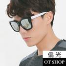 OT SHOP太陽眼鏡‧抗UV權志龍GD明星方框鏡腳三色設計偏光墨鏡‧白水銀‧現貨NG43