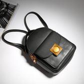 【O-ni O-ni】真皮新款韓版牛皮後背包女士純色双肩包JZL-6603-黑色