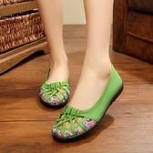 春夏季單鞋 老北京布鞋女平跟鏤空圓頭淺口女鞋中老年媽媽網涼鞋