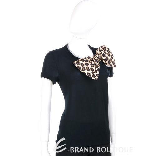 VALENTINO 黑色豹紋蝴蝶結飾短袖上衣 1230418-50