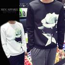 玫瑰印染太空棉加厚棉T/衛衣 3色 M-5XL碼【CM65044】