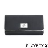 PLAYBOY- 翻蓋式長夾 Firefly 螢火蟲狂想系列-經典黑白