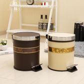 創意歐式家用垃圾桶腳踏式大號垃圾筒帶蓋 【格林世家】