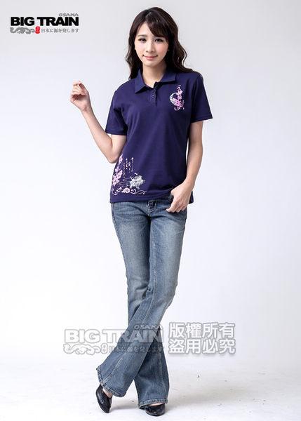 BIG TRAIN 繁花金魚POLO衫-女-深藍