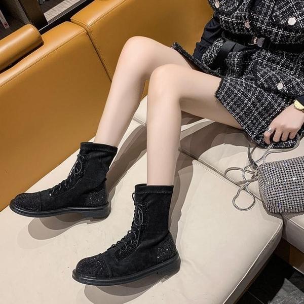 長靴帥氣長筒靴女秋季新款時尚水鉆系帶不過膝馬丁靴騎士靴潮
