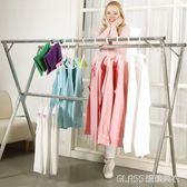 晾衣架落地折疊室內外陽臺雙桿式涼曬衣架移動簡易掛衣桿被子架igo    琉璃美衣