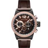 【台南 時代鐘錶 POLICE】義式潮流 輕工業風格三眼計時腕錶 15529JSBBN-12 皮帶 玫瑰金 47mm