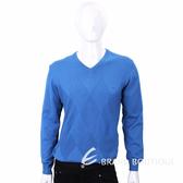 TRUSSARDI 藍色菱格織紋長袖針織衫 1720313-23