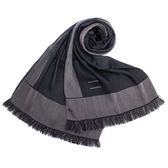 ARMANI Collezioni時尚雙色流蘇薄圍巾(藍色)102806