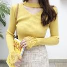 秋裝新款V領性感蕾絲心機上衣女網紅針織打底衫純色修身長袖毛衣 小山好物