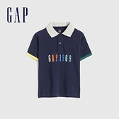 Gap男幼童 Logo純棉短袖POLO衫 681408-海軍藍