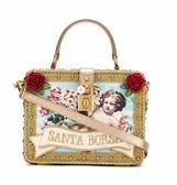 ★專櫃44折! Dolce Gabbana Santa Box 小牛皮絲絨釦鎖 2用包
