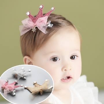 UNICO 韓版 兒童小公主皇冠網紗蝴蝶結髮夾
