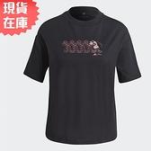 【現貨】Adidas x Disney Graphic Tee 女裝 短袖 T恤 休閒 米妮 純棉 黑【運動世界】GS0248