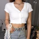 2020夏新款V領波邊短袖襯衫甜美短款T恤高腰露臍少女時尚高腰上衣