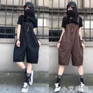 2020夏季新款薄款休閒吊帶褲短褲女歐洲站大碼寬鬆闊腿五分連身褲【小艾新品】