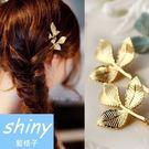 【DJB1414】shiny藍格子-時尚金色樹葉髮夾
