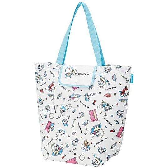 小禮堂 哆啦A夢 折疊尼龍環保購物袋 環保袋 側背袋 手提袋 (白藍 竹蜻蜓) 4973307-51161