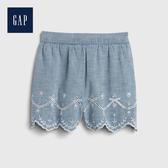 Gap 女幼童 清新風格刺繡鬆緊腰短褲 542920-牛仔色