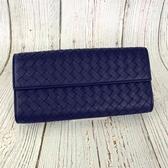 BRAND楓月 BOTTEGA VENETA BV P00112105U 藍紫色 編織 長夾 錢包 錢夾 發財夾