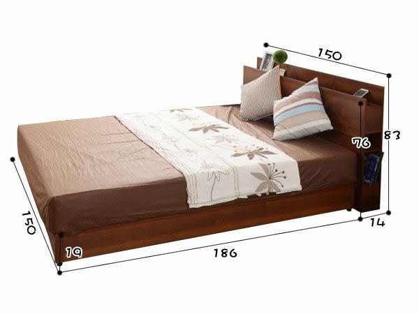 【UHO】日式收納多功能5尺雙人二件床組(床頭片+床底) 胡桃、原木色 免運費