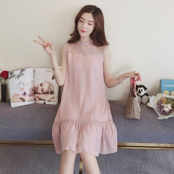 洋裝 韓版無袖荷葉邊蕾絲拼接雪紡連身裙 花漾小姐【現貨】