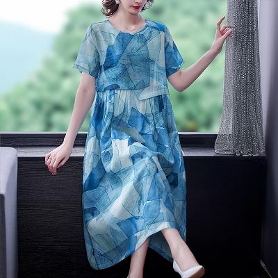 L-5XL胖妹妹大碼洋裝連身裙~苧麻連身裙印花長裙短袖棉麻連身裙女H307A胖妹大碼