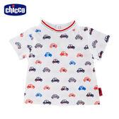 chicco-小小賽車手-印花短袖上衣-白