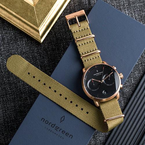 Nordgreen 42mm 波西米亞綠尼龍錶 Pioneer先鋒 北歐設計師手錶 藍寶石鏡面 計時錶 玫瑰金殼 極夜黑錶盤
