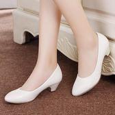 春秋單鞋工作鞋女黑色淺口職業鞋舒適防滑軟底尖頭高跟鞋大碼女鞋 挪威森林